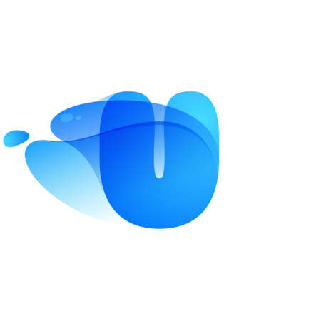 U letter logo made of clear water and dew drops. You can use it in your eco friendly identity, organic emblem, blue watercolor design and others.