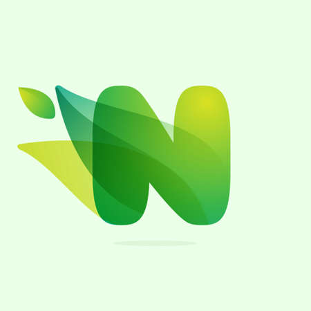 Ecology N letter logo with green leaves. Vector watercolor typeface for agriculture labels, botanical headlines, herbal posters, foliage identity etc. Logo
