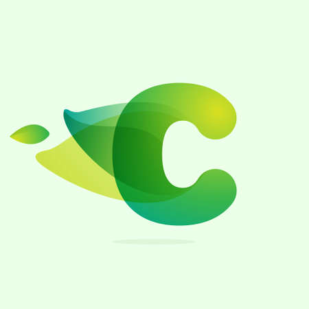 Ecology C letter logo with green leaves. Vector watercolor typeface for agriculture labels, botanical headlines, herbal posters, foliage identity etc.