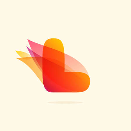 Burning fire L letter logo with red tails. Vector watercolor typeface for danger labels, fast speed headlines, motorcycle posters, sport identity etc. Ilustração