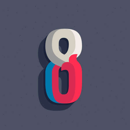 Number eight logo in faceted old athletic style. You can use it in your sportswear identity, baseball emblem, victory posters, retro university design, and others.