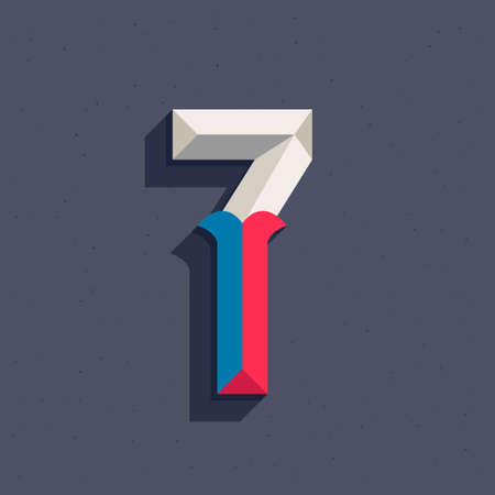 Number seven logo in faceted old athletic style. You can use it in your sportswear identity, baseball emblem, victory posters, retro university design, and others. Ilustração