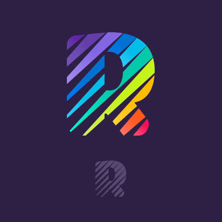 R letter icon with multicolor diagonal lines. Fast speed vector template for your sport team identity, dynamic packaging, technology posters, taxi design, and etc.