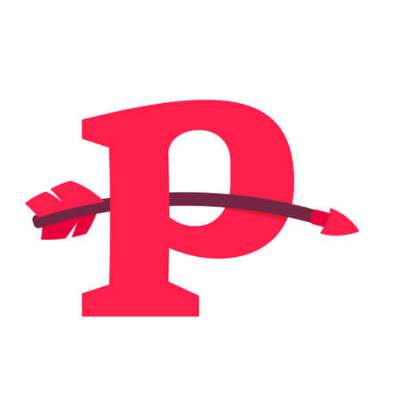 P letter with curved arrow. Vector design template elements for your sport application or romantic corporate identity.