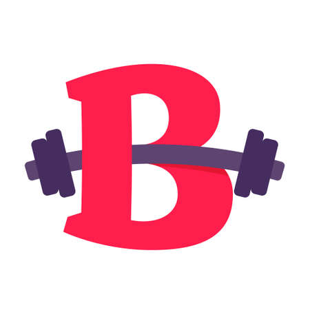 B letter with barbell. Vector design template elements for your application or corporate identity.