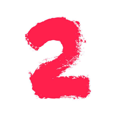 Number two painted with a dry brush. Hand drawn font. Vector grunge style design elements for use in posters or prints.