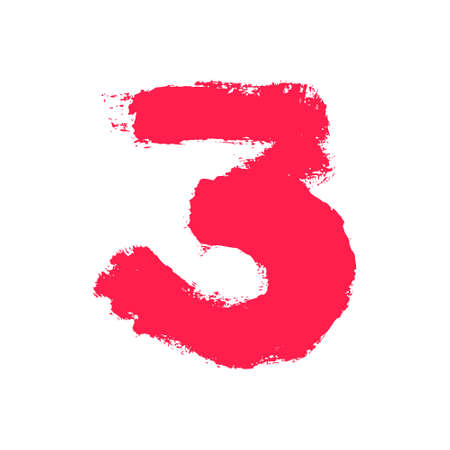 Number three painted with a dry brush. Hand drawn font. Vector grunge style design elements for use in posters or prints.
