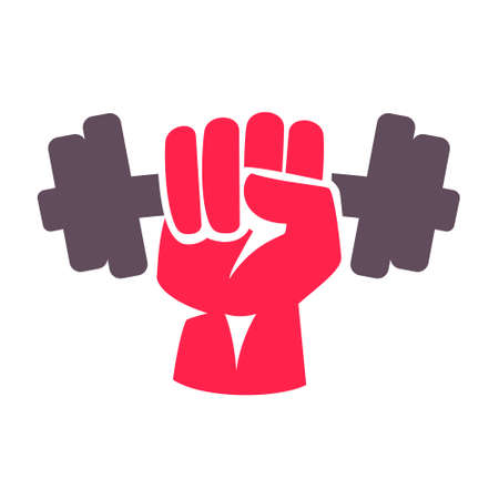 Hand grasping dumbbell. Vector elements for your application or corporate identity design.