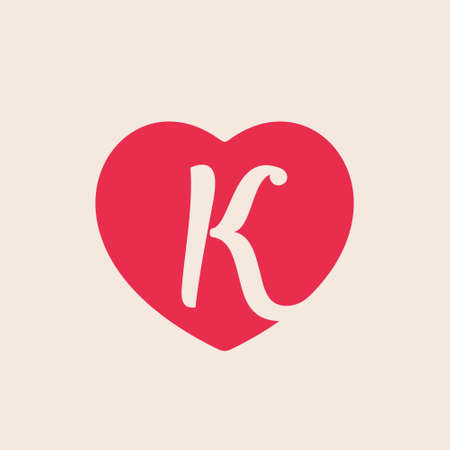 K letter inside heart for st. Valentine's day design. Vector design template elements for your glamor application or beauty corporate identity.