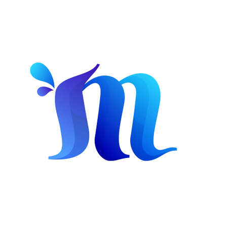 Clean blue M letter with water splash and drops. Vector icon perfect for ecology labels, pool emblem, spa posters and clean identity, etc.