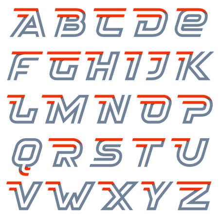 Fast speed alphabet. Two lines letters. Vector design template elements for your application or corporate identity.