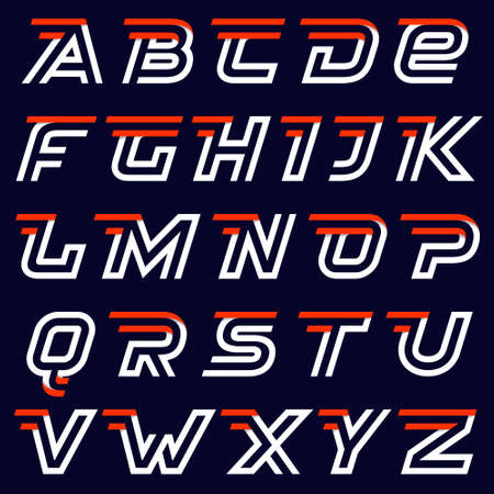 Fast speed alphabet on black. Two lines letters. Sport elements for sportswear, t-shirt, banner, card, labels or posters.