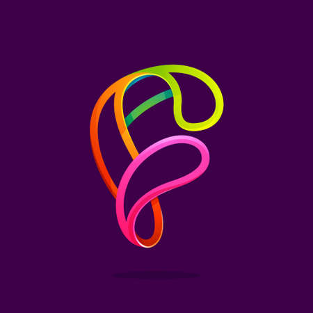 F letter logo formed by glowing neon line. Font style, vector design template elements for your application or corporate identity. Logo