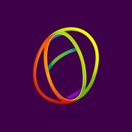 O letter logo formed by glowing neon line. Font style, vector design template elements for your application or corporate identity.