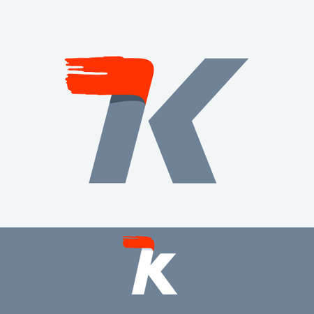 Fast speed K letter logo with red dry brush stroke. Oblique font for sportswear labels, t-shirt prints, race banners, taxi cards etc. Logo
