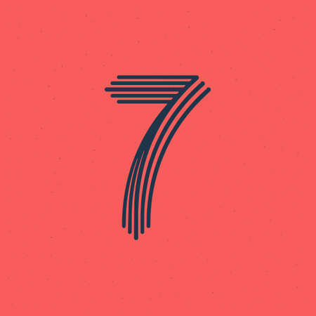 Number seven logo made of five parallel lines with noise texture. Impossible shape style. Vector vintage font for boutique labels, chic headlines, jewelry posters, wedding cards etc. Logos