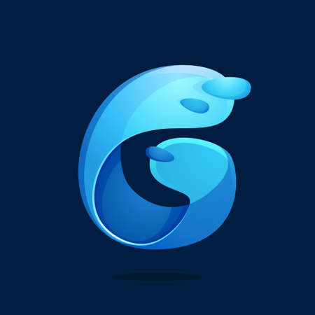 G letter with water waves and drops. Font style, vector design template elements for your ecology application, spa posters or clean water corporate identity.