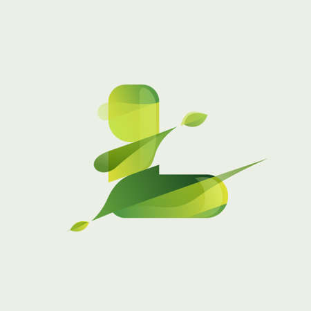 L letter eco logo with green diagonal stripes, leaves and waves. Vector font perfect to use in agriculture labels, herbal cards, nature posters, vegan identity, etc.