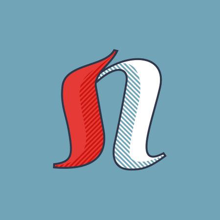 N letter logo with shadow lines effect. Premium victorian script typeface for sport team identity, luxury headlines, university posters, premium diploma, etc.