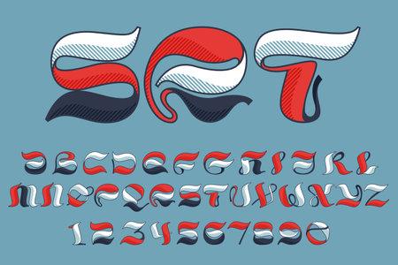 Alphabet and numbers set with shadow lines effect. Premium victorian script typeface for sport team logo, luxury headlines, university posters, premium diploma, etc.