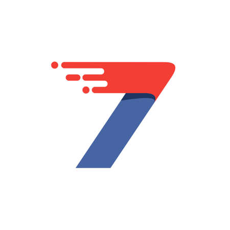 Number seven fast speed motion logo. Oblique font with red line for sportswear labels, delivery poster, racing identity, taxi cards etc.