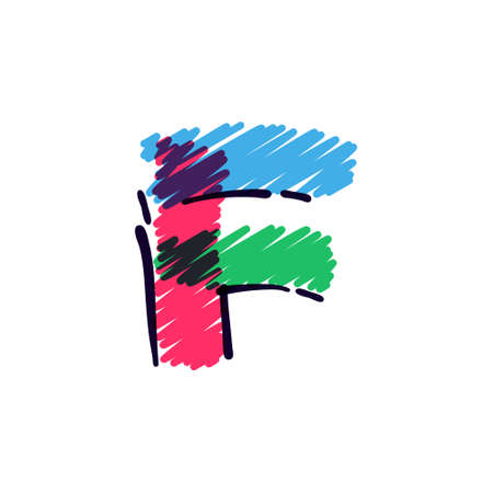 F letter logo hand drawn with a colored pencils. Perfect vector childish font for a school style cartoon, cute comic print, kindergarten posters, etc.