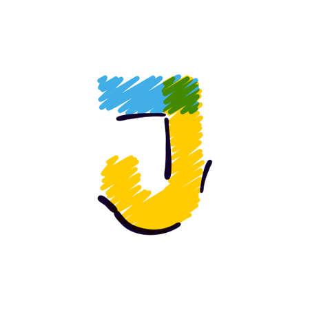 J letter logo hand drawn with a colored pencils. Perfect vector childish font for a school style cartoon, cute comic print, kindergarten posters, etc. Ilustracja