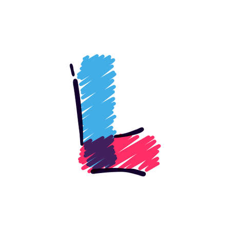 L letter logo hand drawn with a colored pencils. Perfect vector childish font for a school style cartoon, cute comic print, kindergarten posters, etc.