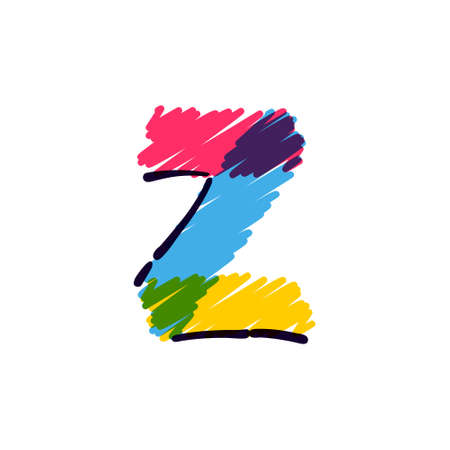 Z letter logo hand drawn with a colored pencils. Perfect vector childish font for a school style cartoon, cute comic print, kindergarten posters, etc.