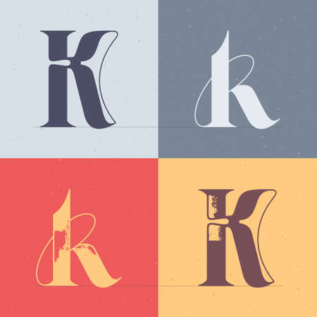 K letter logo with elegant line decoration. Four style serif font set. Vector vintage icon perfect to use in any alcohol labels, glamor posters, luxury identity, etc.