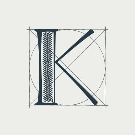 K letter logo with construction grid lines. Vector vintage serif character perfect to use in any architecture labels, boutique posters, luxury identity, etc.