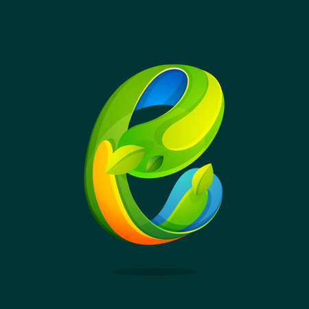 E letter with green leaves eco logo.Vector colorful typeface for agriculture branding design, spring labels, garden posters, environment identity etc.