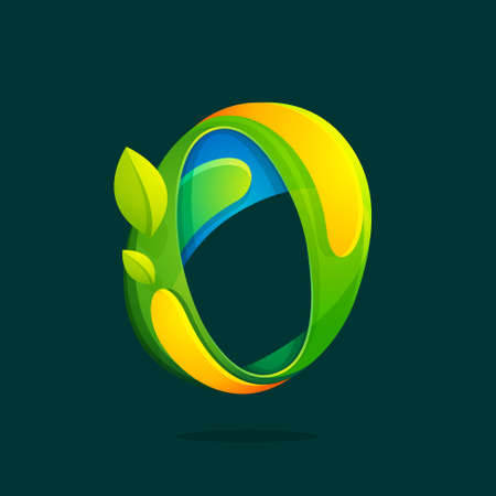 O letter with green leaves eco logo.Vector colorful typeface for agriculture branding design, spring labels, garden posters, environment identity etc.