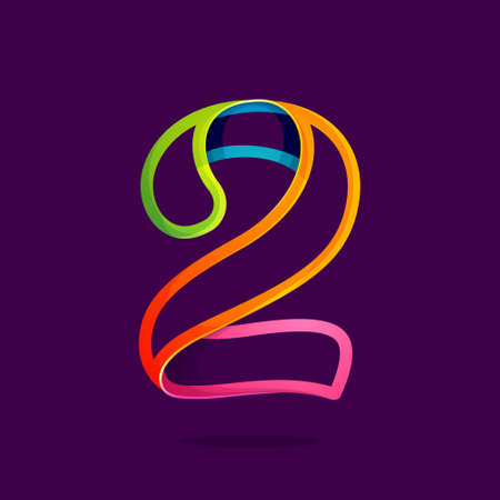 Number two logo in funny colorful neon line style. Vector design for banner, presentation, web page, card, labels or posters.