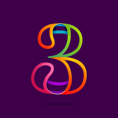 Number three logo in funny colorful neon line style. Vector design for banner, presentation, web page, card, labels or posters.