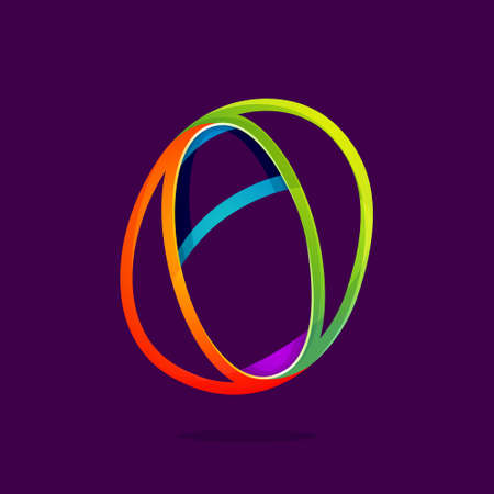 Number zero logo in funny colorful neon line style. Vector design for banner, presentation, web page, card, labels or posters.
