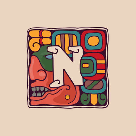 Letter N logo in Aztec, Mayan or Incas style. Native American symbol with warrior or god face. Perfect for ethnic labels, sport emblem, tattoo design and tribal identity, etc.