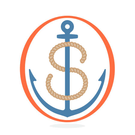 S letter made of rope with an anchor. Vintage badge can be used for a sailing print on fabric, discover, boat badge, and explore emblem.