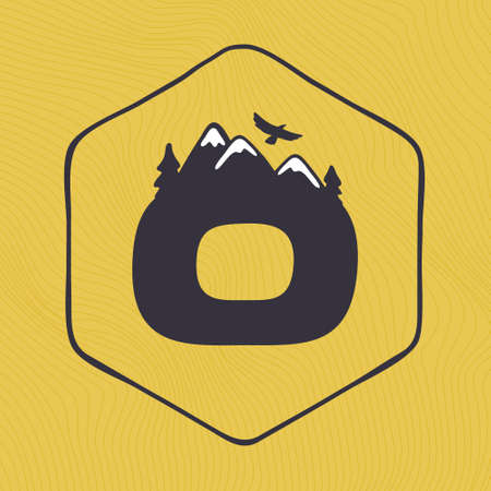 O letter logo with mountains peaks and trees on a landscape line pattern. Adventure and outdoor vintage emblem perfect for t-shirts, apparel and other merchandise. Ilustração