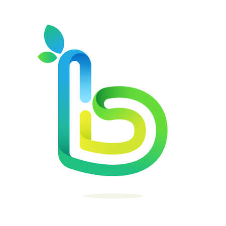 B letter with green leaves eco logo. Line font style, vector design template elements for your ecology application or green corporate identity.