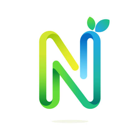 N letter with green leaves eco . Line font style, vector design template elements for your ecology application or green corporate identity.