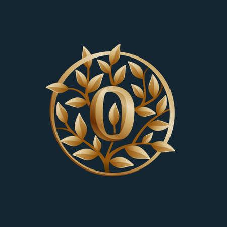 Golden tree O letter logo. Vintage circle vector emblem. Premium typeface for real estate layout, luxury card, elegant presentation, glamor label, fashion posters, boutique icon, etc.