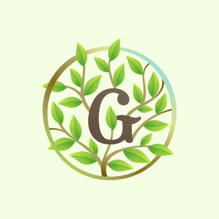 G letter logo made of twisted tree branches and green leaves in circle. Ecology vector font for vegan emblem, botanical identity, creative spring t-shirts, organic merchandise.