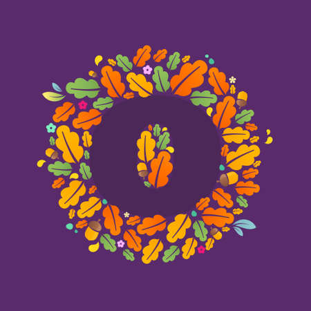 O letter logo in a circle of oak leaves and acorns. Autumn font style, autumn vector design template elements for your ecology application or corporate identity.