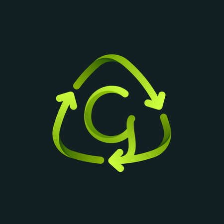 Recycling symbol with G letter line logo. Green reuse sign with rotating arrows. Vector font for your upcoming eco-friendly and zero waste projects.