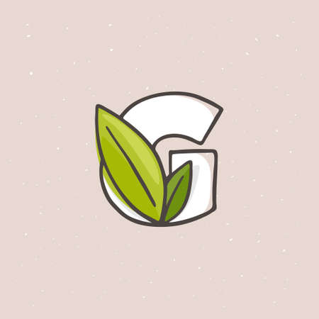 G letter icon hand drawn with a felt-tip pen in soft colors. Line style vector illustration with green leaves for your upcoming eco-friendly and zero waste projects.