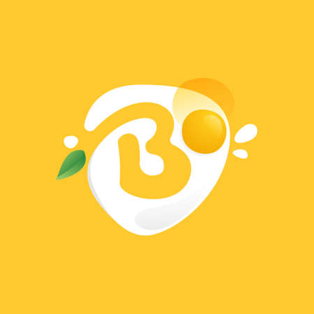 Letter B icon on a Fried Egg with green leaf and splashes.