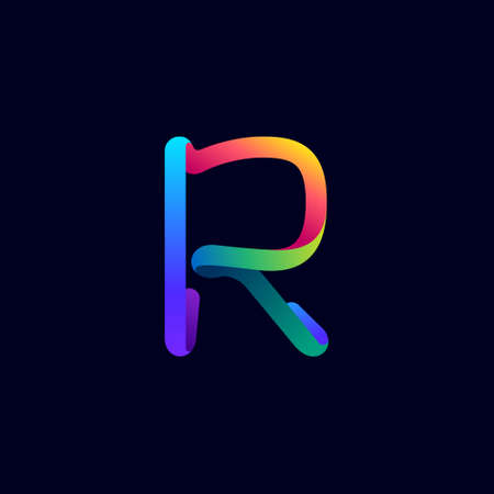 R letter logo made of multicolor gradient neon line. Vector bright icon for multimedia labels, nightlife headlines, cinema posters, casino advertisement etc.