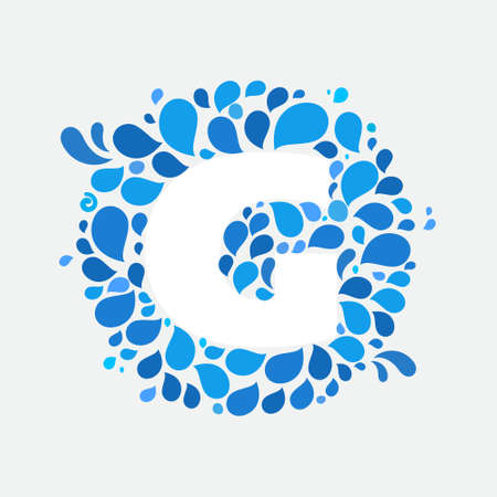 G letter in a circle of splashes and drops of water. Font style, vector design template elements for your ecology application or corporate identity.