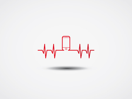 anaesthesia: Heartbeat with phone symbol  Vector Illustration